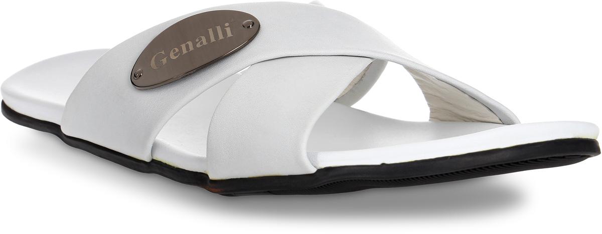 Шлепанцы мужские Genalli, цвет: белый. HF90269-1. Размер 40HF90269-1Мужские шлепанцы Genalli выполнены из качественной натуральной кожи. Кожаная стелька создает комфорт при движении. Рельефная подошва из полимерного термопластичного материала гарантирует хорошую амортизацию и сцепление с любой поверхностью.