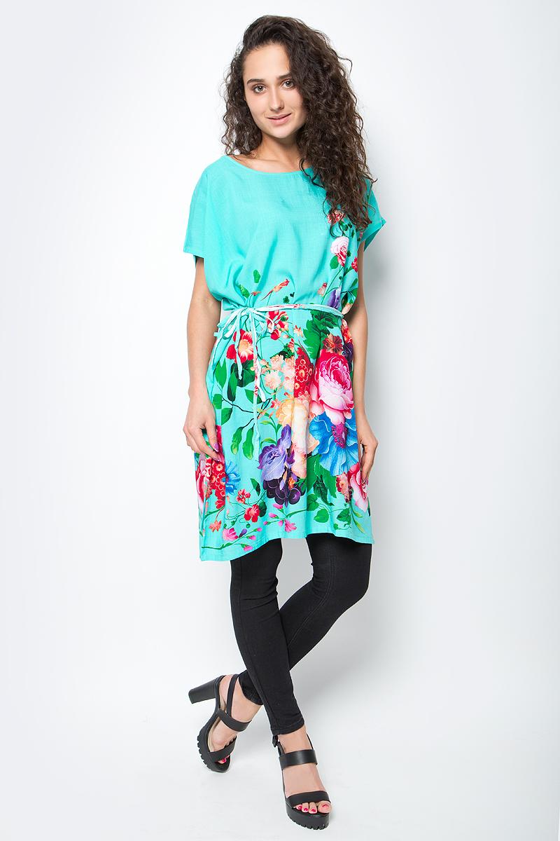 Туника женская Vitta Pelle, цвет: зеленый. Ro03B1166-H308-3. Размер M/L (44/48)Ro03B1166-H308-3Легкая полупрозрачная накидка из хлопковой ткани с ярким цветочным принтом и отделкой из бахромы.