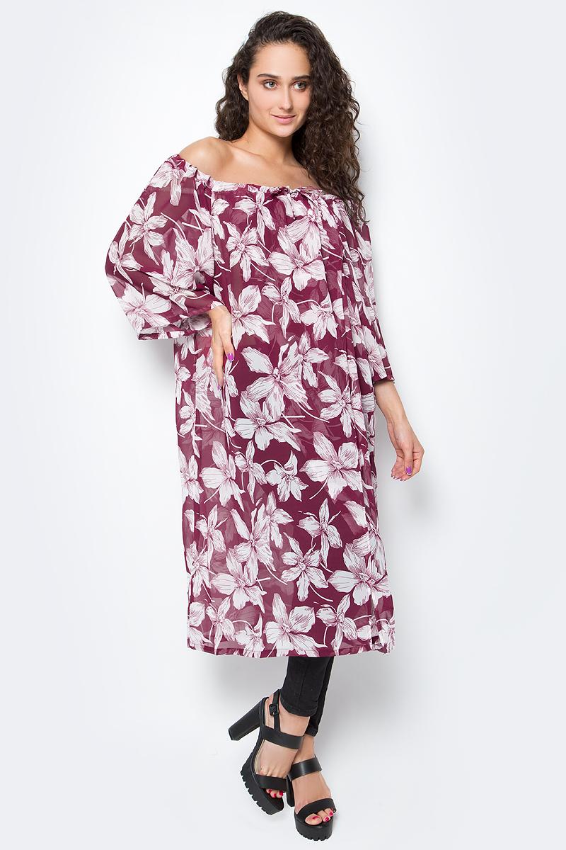 Туника женская Vittorio Richi, цвет: белый, бордовый. Ro03B1233-9-2. Размер L/XXXXL (48/60)Ro03B1233-9-2Длинное платье-туника с регулируемым запахом на груди. Свободный крой, широкие рукава и яркий принт. Идеально подходит для отдыха на пляже.