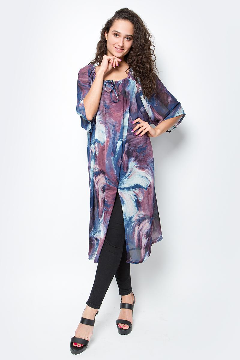 Туника женская Vittorio Richi, цвет: синий. Ro03B1233-GY14. Размер L/XXXXL (48/60)Ro03B1233-GY14Длинное платье-туника с регулируемым запахом на груди. Свободный крой, широкие рукава и яркий принт. Идеально подходит для отдыха на пляже.