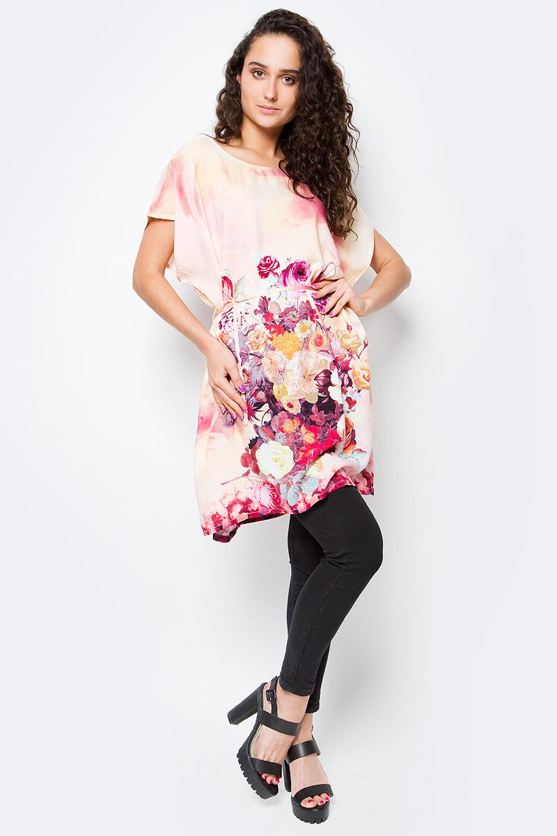 Туника женская Vitta Pelle, цвет: розовый. Ro03B1166-S9311-2. Размер M/L (44/48)Ro03B1166-S9311-2Легкая полупрозрачная накидка из хлопковой ткани с ярким цветочным принтом и отделкой из бахромы.
