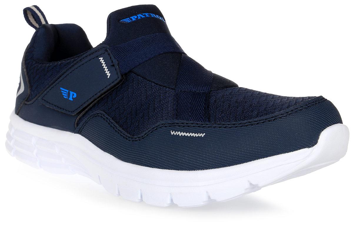 Кроссовки для мальчика Patrol, цвет: темно-синий. 763-007T-17s-8/01-16. Размер 39763-007T-17s-8/01-16Стильные кроссовки от Patrol - отличный выбор для вашего мальчика на каждый день. Верх модели выполнен из плотного текстиля искусственной кожи.Ремешок с липучкой на подъеме обеспечивает надежную фиксацию обуви на ноге. Подкладка и стелька из текстильного материала создают комфорт при носке. Подошва выполнена из легкого пенопропилена.Рифление на подошве обеспечивает отличное сцепление с любой поверхностью.Модные и комфортные кроссовки - необходимая вещь в гардеробе каждого ребенка.