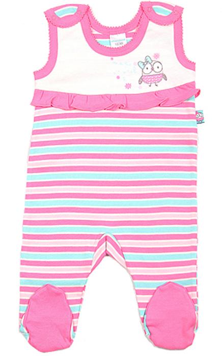 Ползунки для девочки Cherubino, цвет: экрю, розовый. CAN 9408. Размер 74CAN 9408Ползунки для девочки Cherubino изготовлены из хлопка. Модель с высокой грудкой застегивается на плечиках на кнопки. Ползунки украшены принтом и рюшами.