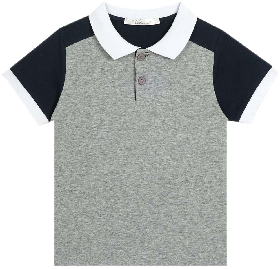Поло для мальчика Vitacci, цвет: серый. 1172025-02. Размер 1281172025-02Модная футболка-поло для мальчика из качественного трикотажа. Контрастные детали придают изделию оригинальный вид.