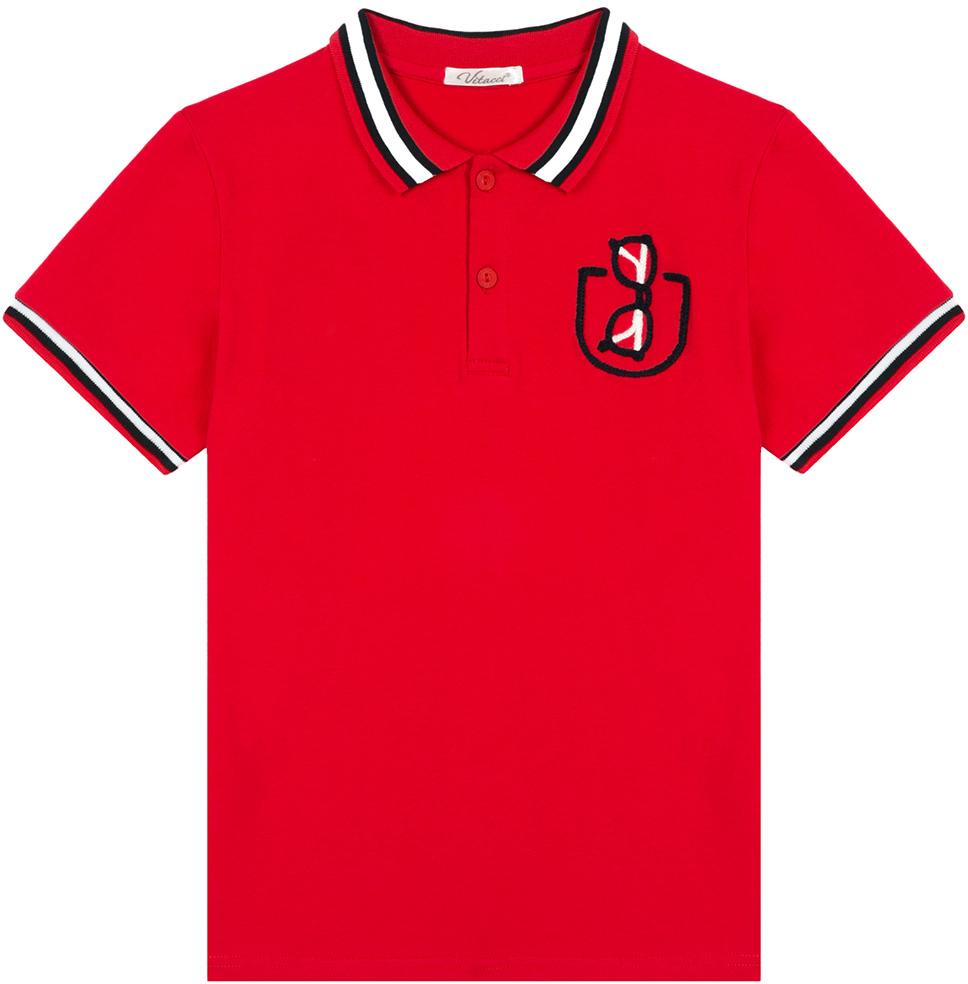 Поло для мальчика Vitacci, цвет: красный. 1172026-05. Размер 1521172026-05Оригинальная футболка-поло для мальчика. Контрастная отделка полосками воротника и рукавов, декоративная вышивка очки в кармане делает модель актуальной и модной.