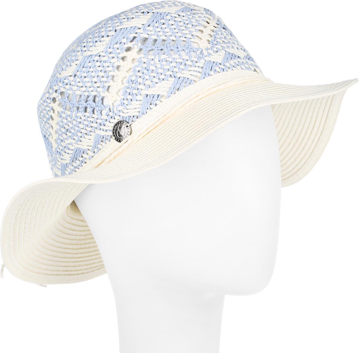 Шляпа женская R.Mountain Clara, цвет: светло-бежевый, голубой. 77-098-32. Размер M (57)77-098-32Летняя женская шляпа R.Mountain Clara станет незаменимым аксессуаром для пляжа и отдыха на природе. Такая шляпка не только защитит вас от солнца, но и станет стильным дополнением вашего образа.Шляпа оформлена небольшим металлическим логотипом фирмы и небольшим декоративным цветком. Плетение шляпы обеспечивает необходимую вентиляцию и комфорт даже в самый знойный день. Шляпа легко восстанавливает свою форму после сжатия.Эта элегантная легкая шляпка подчеркнет вашу неповторимость и дополнит ваш повседневный образ.