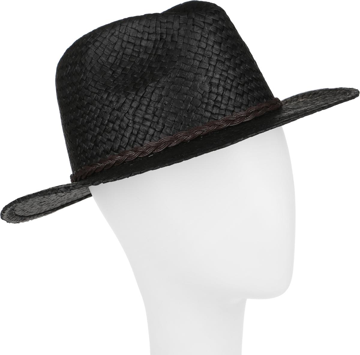Шляпа женская Canoe Togo, цвет: черный. 1963761. Размер 561963761Стильная летняя шляпа Canoe Togo, выполненная из искусственной соломы, станет незаменимым аксессуаром для пляжа и отдыха на природе, и обеспечит надежную защиту головы от солнца. Шляпа оформлена декоративным плетеным ремешком. Плетение шляпы обеспечивает необходимую вентиляцию и комфорт даже в самый знойный день. Шляпа легко восстанавливает свою форму после сжатия.Такая шляпа подчеркнет вашу неповторимость и дополнит ваш повседневный образ.