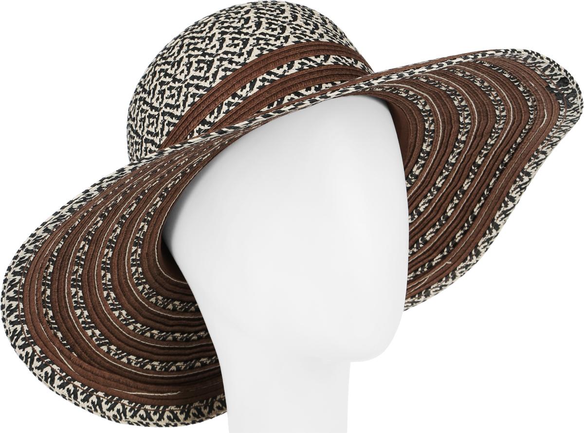 Шляпа женская Canoe Stylish, цвет: коричневый, бежевый, черный. 1966339. Размер 561966339Летняя женская шляпа Canoe Stylish, выполненная из искусственной соломы, станет незаменимым аксессуаром для пляжа и отдыха на природе. Широкие поля шляпы надежно защищают от солнечных лучей.Шляпа оформлена стильным африканским орнаментом. Плетение шляпы обеспечивает необходимую вентиляцию и комфорт даже в самый знойный день. Шляпа легко восстанавливает свою форму после сжатия.Стильная шляпа с элегантными волнистыми полями подчеркнет вашу неповторимость и дополнит ваш повседневный образ.