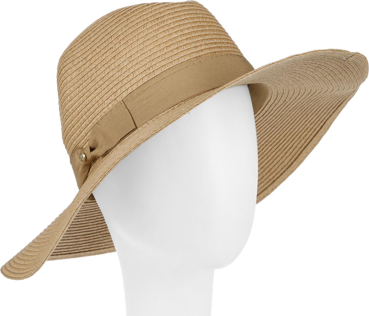 Шляпа женская Canoe Elise, цвет: темно-бежевый. 1964359. Размер 56/571964359Очаровательная женская шляпа Canoe Elise, выполненная из искусственной соломы, станет незаменимым аксессуаром для пляжа и отдыха на природе. Широкие поля шляпы обеспечат надежную защиту от солнечных лучей.Шляпа оформлена декоративной лентой с бантиком. Плетение шляпы обеспечивает необходимую вентиляцию и комфорт даже в самый знойный день. Шляпа легко восстанавливает свою форму после сжатия.Стильная шляпа с элегантными волнистыми полями подчеркнет вашу неповторимость и дополнит ваш повседневный образ.