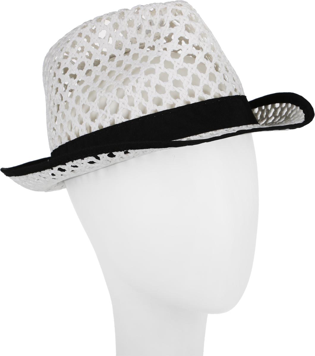Шляпа женская Canoe Daima, цвет: белый. 1964520. Размер 561964520Шляпа-федора Canoe Daima непременно украсит любой наряд.Шляпа из искусственной соломы оформлена трикотажным ремешком с логотипом фирмы вокруг тульи. Благодаря своей форме, шляпа удобно садится по голове и подойдет к любому стилю. Плетение шляпы позволяет ей пропускать воздух, что обеспечивает необходимую вентиляцию.Такая шляпа подчеркнет вашу неповторимость и дополнит ваш повседневный образ.