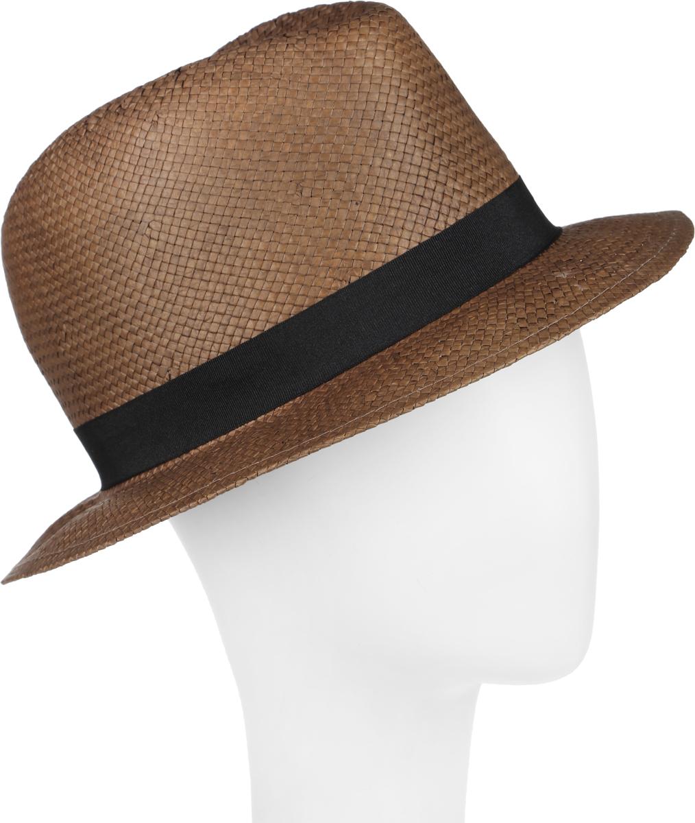 Шляпа женская Canoe Koko, цвет: коричневый. 1964339. Размер 561964339Шляпа-федора Canoe Koko непременно украсит любой наряд.Шляпа из искусственной соломы вокруг тульи оформлена трикотажной лентой и бантом с логотипом фирмы. Благодаря своей форме, шляпа удобно садится по голове и подойдет к любому стилю. Плетение шляпы позволяет ей пропускать воздух, что обеспечивает необходимую вентиляцию.Такая шляпа подчеркнет вашу неповторимость и дополнит ваш повседневный образ.