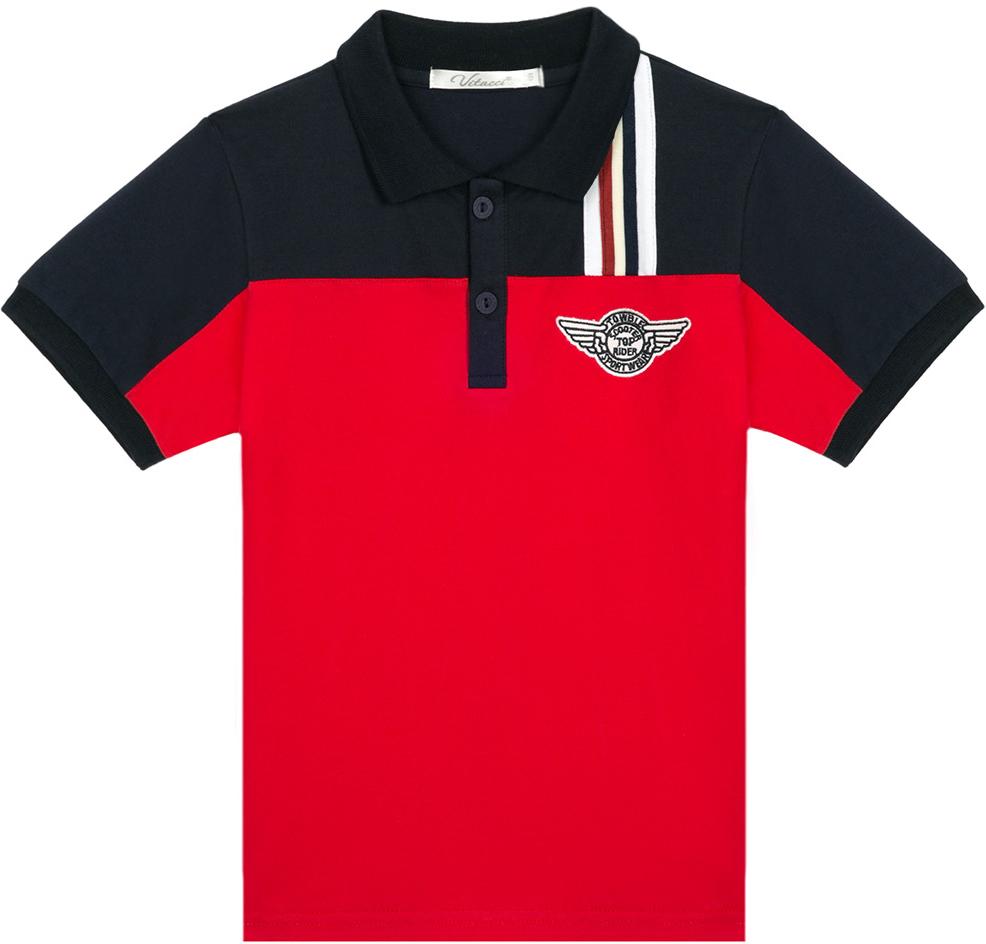 Поло для мальчика Vitacci, цвет: красный. 1172027-05. Размер 981172027-05Оригинальная футболка-поло для мальчика. Сочетание двух контрастных цветов, декоративная нашивка на полочке изделия и эмблема делают данную модель модной и актуальной.