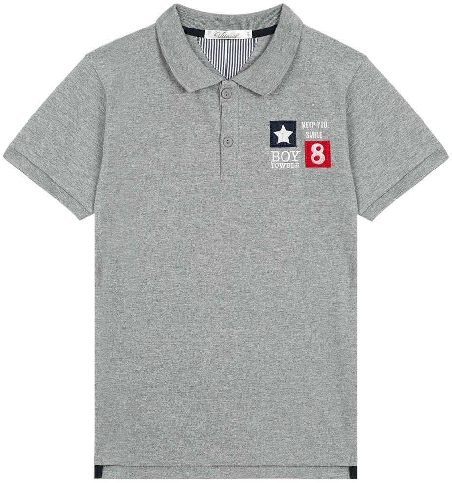 Поло для мальчика Vitacci, цвет: серый. 1172028-02. Размер 1581172028-02Поло для мальчика с отложным воротником и короткими рукавами.