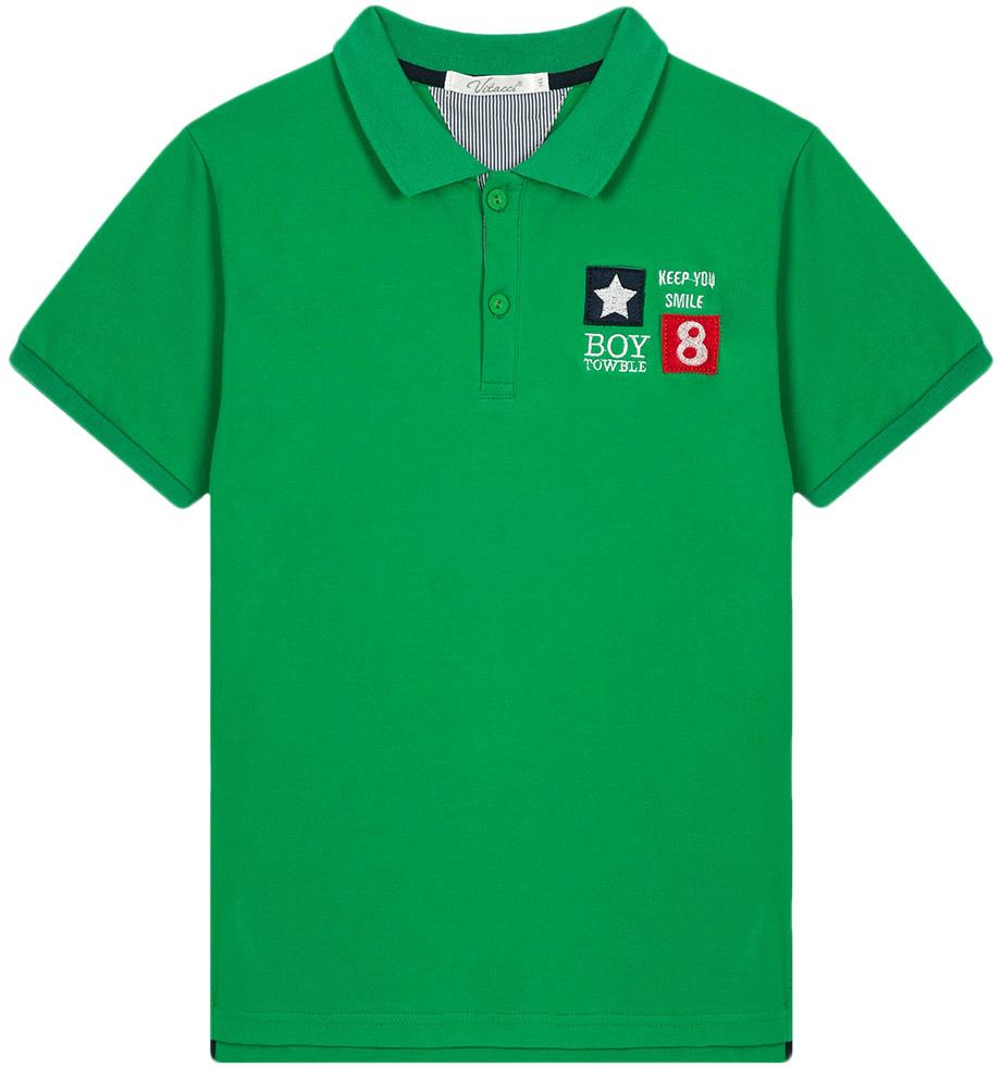 Поло для мальчика Vitacci, цвет: зеленый. 1172028-06. Размер 1461172028-06Поло для мальчика с отложным воротником и короткими рукавами.