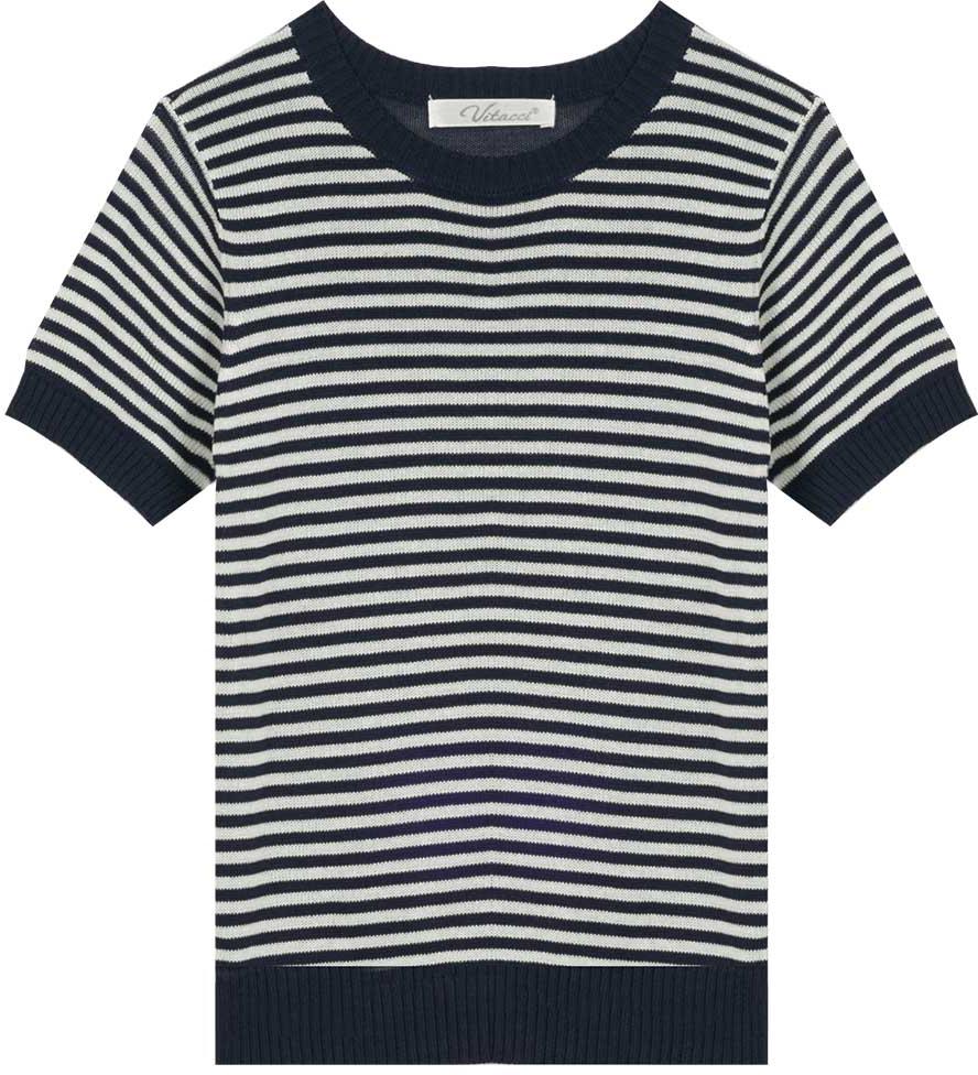 Футболка для мальчика Vitacci, цвет: темно-синий, белый. 1172029-04. Размер 1221172029-04Актуальная во все времена полоска и контрастная отделка горловины и рукавов делают футболку для мальчика оригинальной и модной. Изготовленная из качественной вискозы модель будет приятно охлаждать в жаркую погоду.