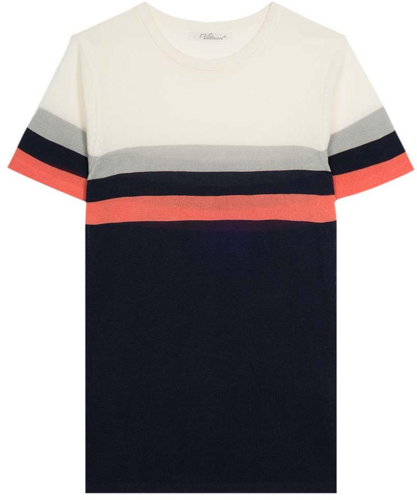 Футболка для мальчика Vitacci, цвет: темно-синий, белый. 1172031-04. Размер 1341172031-04Изготовленная из качественной вискозы футболка для мальчика будет приятно охлаждать в жаркую погоду. Оригинальное сочетание контрастных полосок удачно дополняет модель.