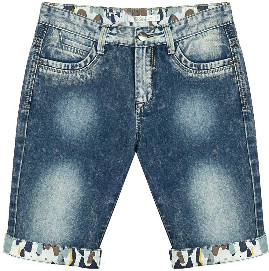 Шорты для мальчика Vitacci, цвет: синий. 1172042-04. Размер 1401172042-04Всегда актуальные джинсовые шорты для мальчика, классическая длина и оригинальные цветные отвороты делают модель модной и удобной.
