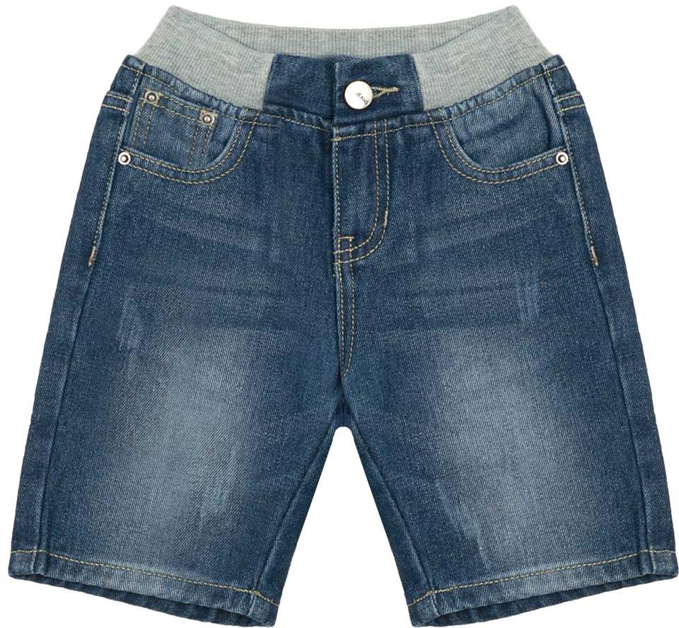 Шорты для мальчика Vitacci, цвет: синий. 1172047-04. Размер 1221172047-04Всегда актуальные джинсовые шорты для мальчика, классическая длина и оригинальный трикотажный пояс контрастного цвета делают модель модной и удобной.