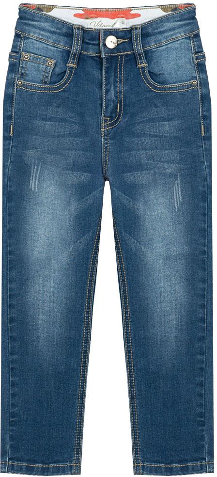 Джинсы для мальчика Vitacci, цвет: синий. 1172054-04. Размер 1101172054-04Джинсы для мальчика выполнены из хлопка и полиэстера. Модель стандартной посадки застегивается на комбинированную застежку.