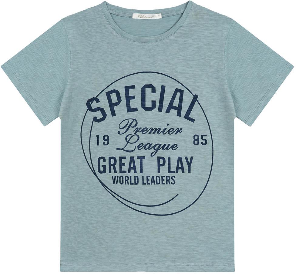 Футболка для мальчика Vitacci, цвет: синий. 1172092-04. Размер 1521172092-04Модная футболка для мальчика с оригинальным принтом будет удачным выбором в солнечный летний день. Высококачественный трикотаж из 100% хлопка даст возможность чувствовать себя комфортно в любую погоду.