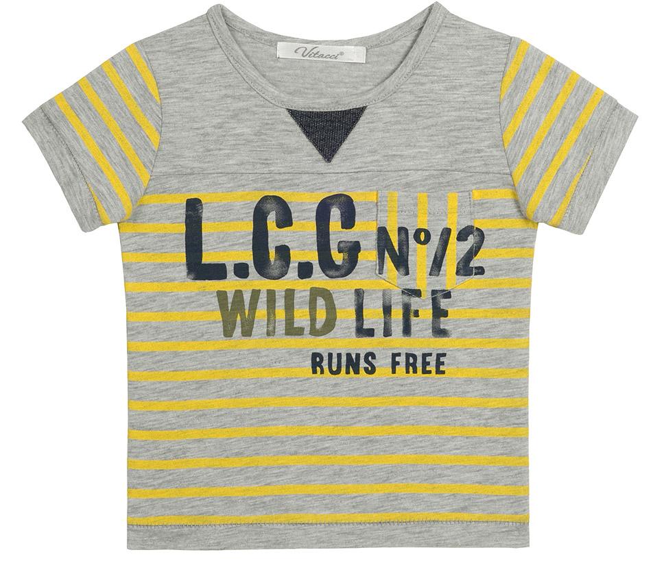 Футболка для мальчика Vitacci, цвет: серый. 1172096-02. Размер 1101172096-02Модная футболка для мальчика с оригинальным принтом будет удачным выбором в солнечный летний день. Высококачественный трикотаж из 100% хлопка даст возможность чувствовать себя комфортно в любую погоду.