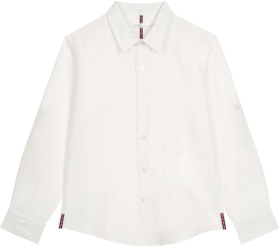 Рубашка для мальчика Vitacci, цвет: белый. 1172101-01. Размер 1401172101-01Оригинальная рубашка для мальчика из высококачественного льна. Возможность корректировать длину рукава позволяет носить данную модель как в жаркий летний день, так и прохладным вечером.