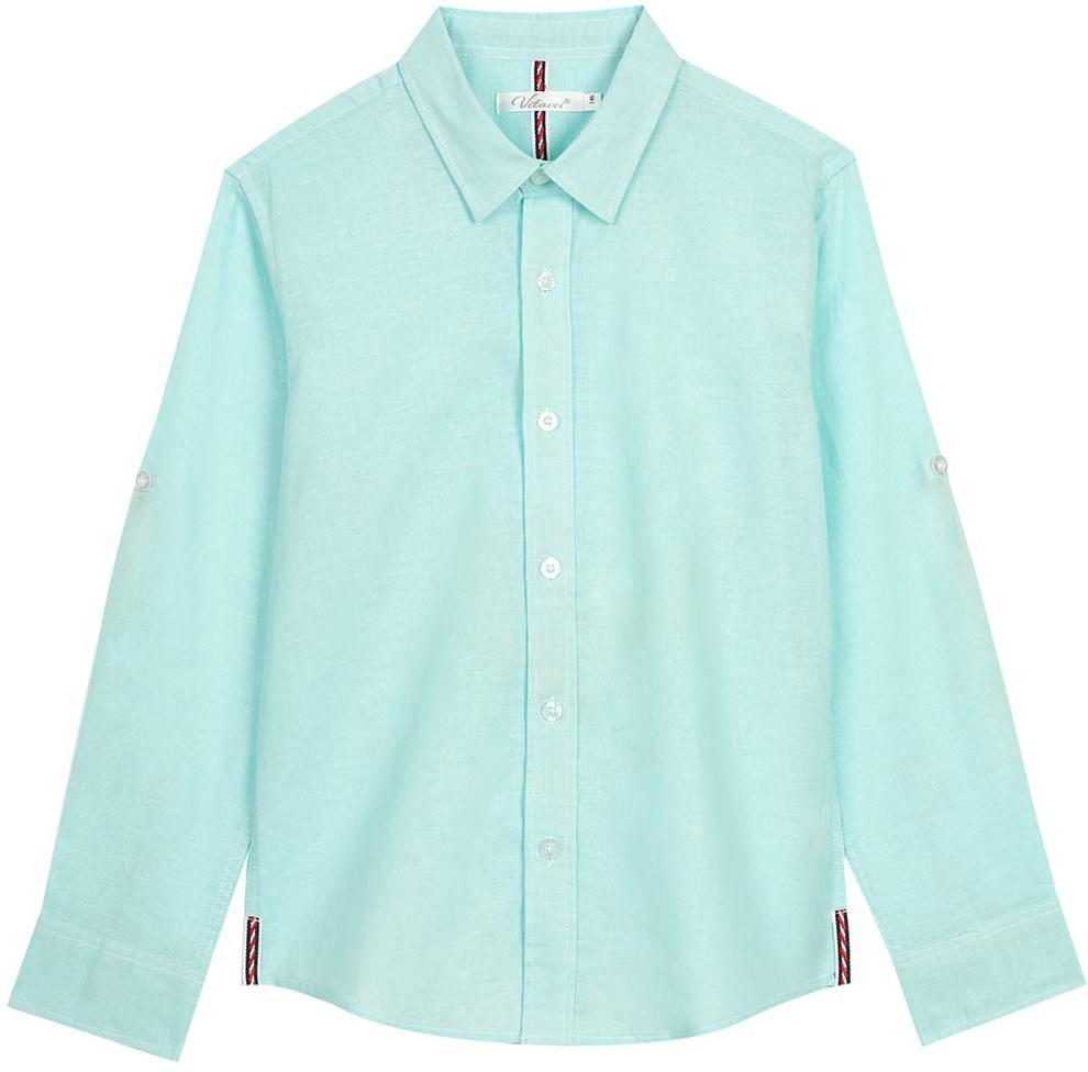 Рубашка для мальчика Vitacci, цвет: зеленый. 1172101-32. Размер 1641172101-32Оригинальная рубашка для мальчика из высококачественного льна. Возможность корректировать длину рукава позволяет носить данную модель как в жаркий летний день, так и прохладным вечером.