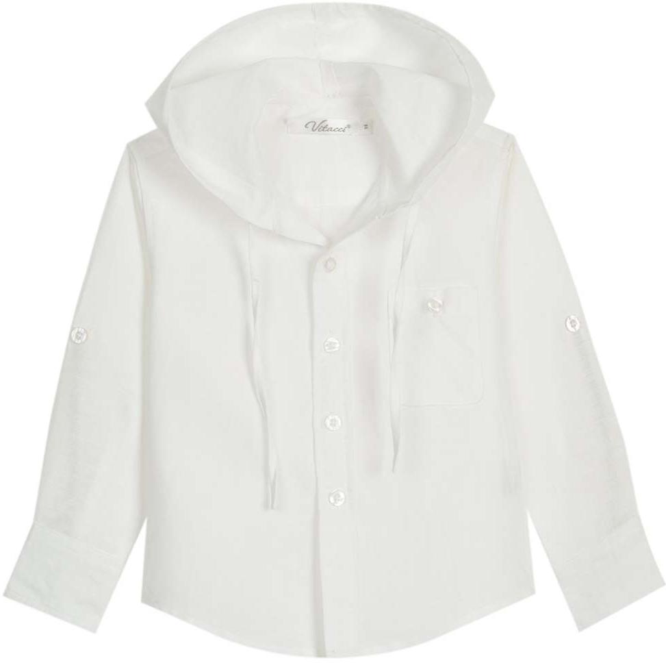 Рубашка для мальчика Vitacci, цвет: белый. 1172102-01. Размер 1161172102-01Оригинальная рубашка с капюшоном для мальчика из высококачественного льна. Возможность корректировать длину рукава позволяет носить данную модель как в жаркий летний день, так и прохладным вечером.