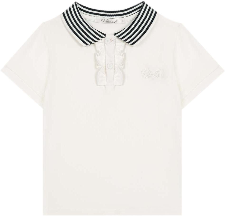 Футболка для девочки Vitacci, цвет: белый. 2172007-01. Размер 1282172007-01Замечательная футболка на девочку с застежкой поло, оформленной рюшами. Незаменимая вещь в гардеробе юной модницы.