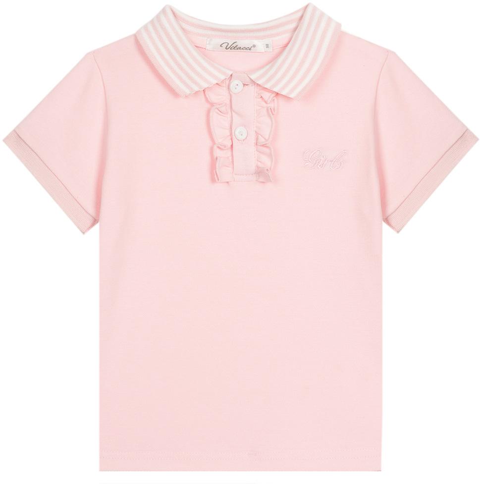 Футболка для девочки Vitacci, цвет: розовый. 2172007-11. Размер 1162172007-11Замечательная футболка на девочку с застежкой поло, оформленной рюшами. Незаменимая вещь в гардеробе юной модницы.