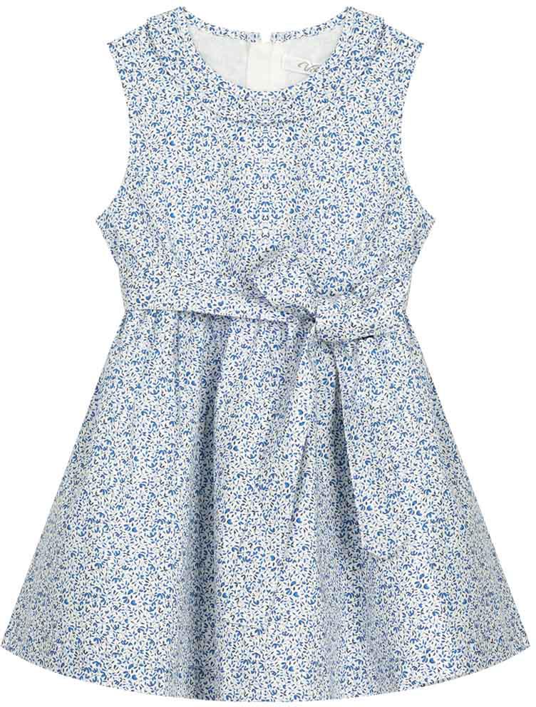 Сарафан для девочки Vitacci, цвет: синий. 2172009-04. Размер 1282172009-04Летний сарафан в стиле прованс, цветочный рисунок понравится маленьким модницам, а высококачественный хлопок создаст ощущение комфорта даже в самый жаркий день.