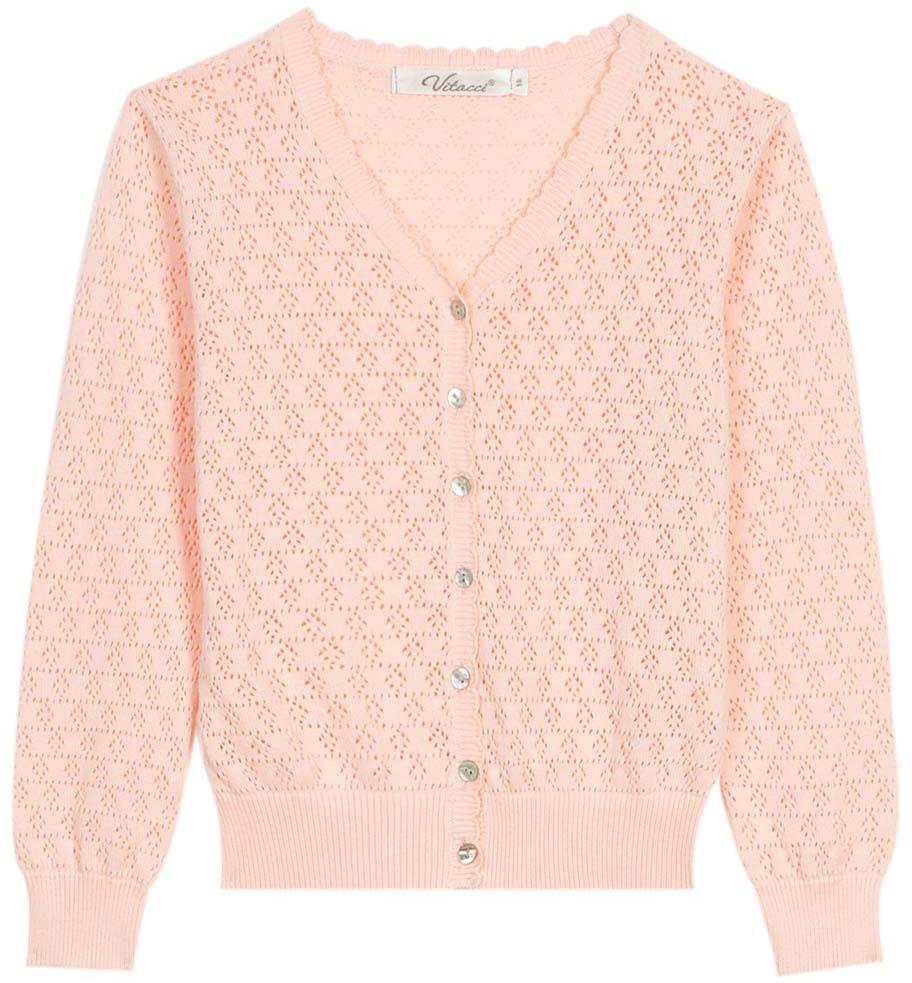 Кофта для девочки Vitacci, цвет: розовый. 2172012-11. Размер 1282172012-11Замечательная ажурная кофта на пуговицах не оставит равнодушной маленьких модниц и идеально подойдет для прохладного летнего дня.