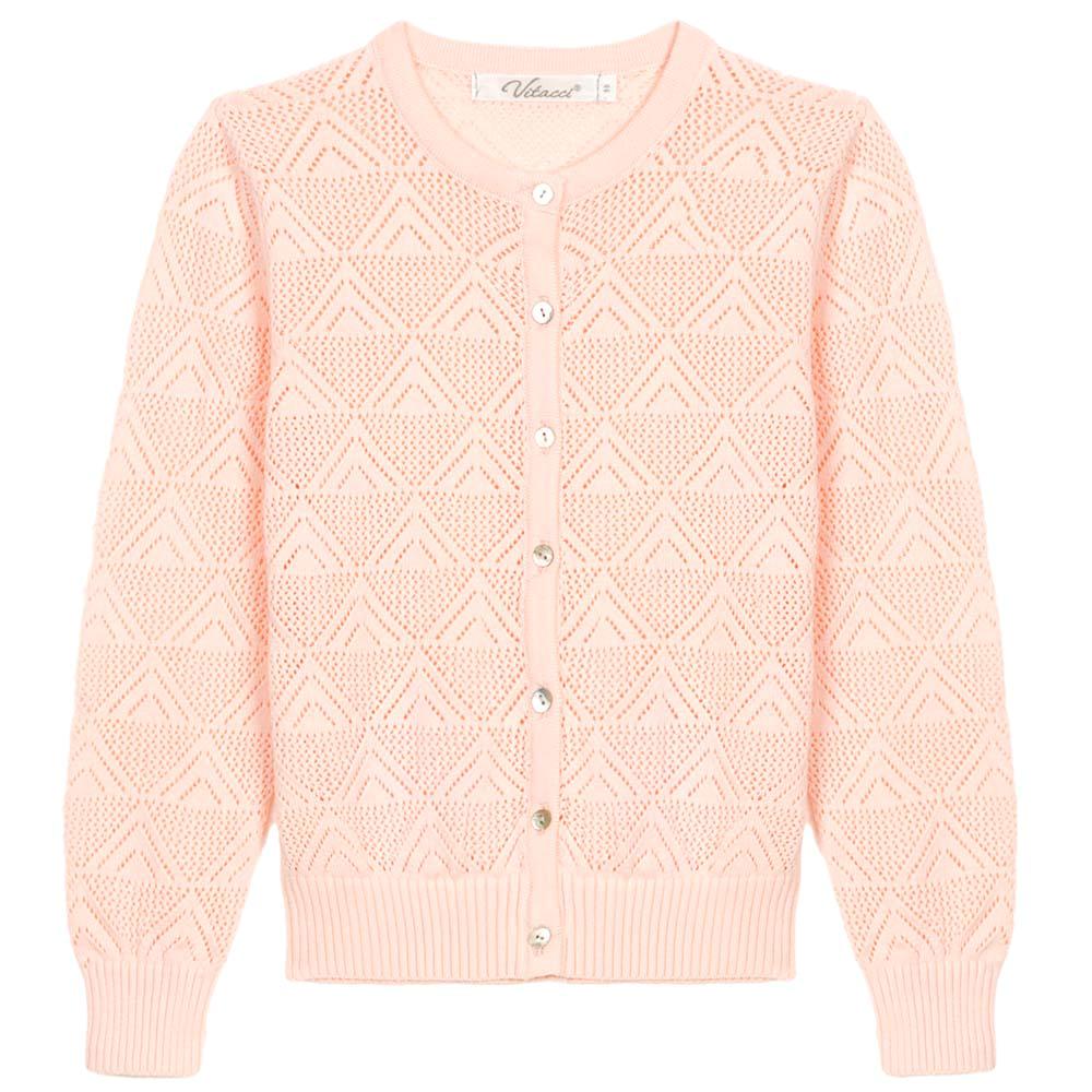 Кофта для девочки Vitacci, цвет: розовый. 2172014-11. Размер 1282172014-11Кофта для девочки выполнена из натурального хлопка. Модель с круглым вырезом горловины застегивается на пуговицы.