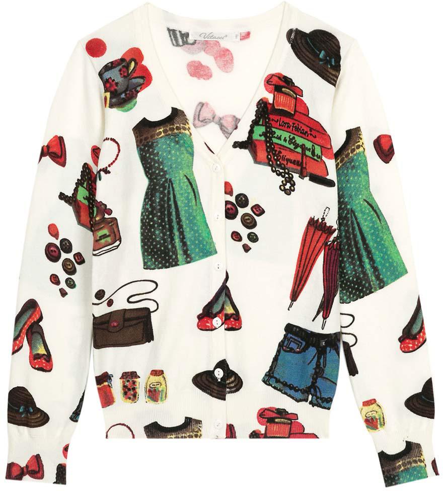 Кардиган для девочки Vitacci, цвет: белый, мультиколор. 2172016-01. Размер 1342172016-01Оригинальный кардиган для девочки с необычным принтом в сочетании с джинсами подойдет для прохладного летнего дня.