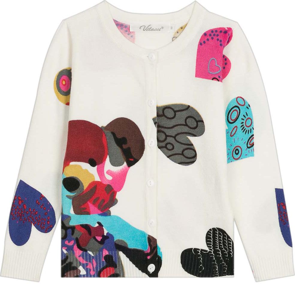 Кардиган для девочки Vitacci, цвет: белый, мультиколор. 2172018-01. Размер 1222172018-01Оригинальный кардиган для девочки с необычным принтом в сочетании с джинсами подойдет для прохладного летнего дня.
