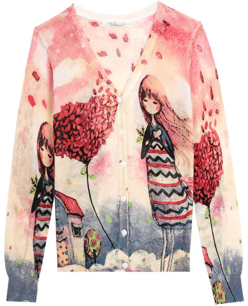 Кофта для девочки Vitacci, цвет: розовый. 2172027-11. Размер 1342172027-11Кофта для девочки выполнена из натурального хлопка. Модель с длинными рукавами застегивается на пуговицы.