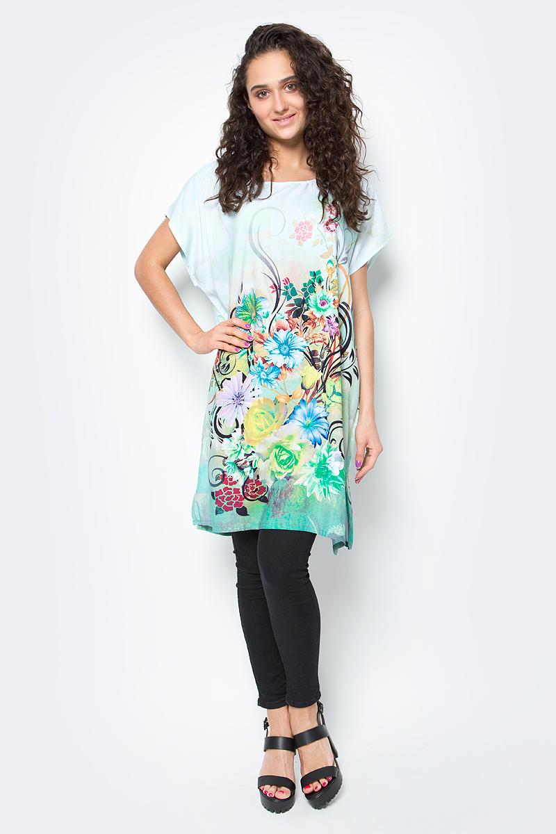 Туника женская Vitta Pelle, цвет: белый, зеленый. Ro03B1166-S9313-1. Размер M/L (44/48)Ro03B1166-S9313-1Легкая полупрозрачная накидка из хлопковой ткани с ярким цветочным принтом и отделкой из бахромы.