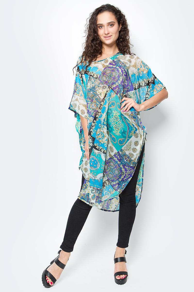 Туника женская Vittorio Richi, цвет: оранжевый, зеленый. Ro03B1015-3-2. Размер M/XXXXL (46/60)Ro03B1015-3-2Летняя туника средней длины из атласной ткани. Свободный крой с разрезами по бокам и рукавами-кимоно. Большой выбор принтов.