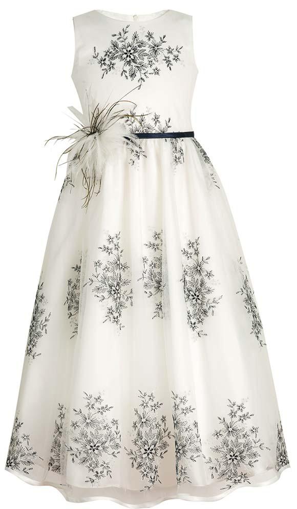 Платье для девочки Vitacci, цвет: белый. 2172035-01. Размер 1202172035-01Элегантное удлиненное платье для принцессы с пышной многослойной юбкой, оригинальным принтом по всему изделию - отличный выбор для праздничного бала.