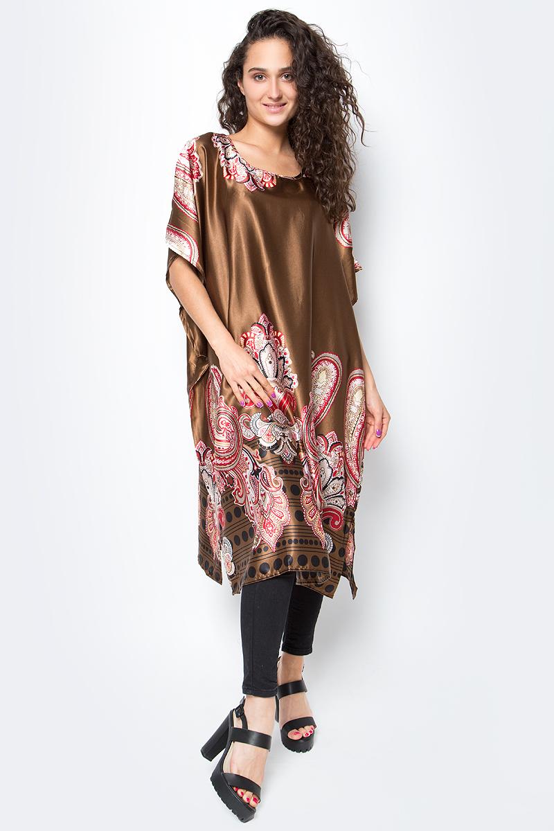 Туника женская Vittorio Richi, цвет: коричневый. Ro03B1005-3. Размер L/XXL (48/54)Ro03B1005-3Свободная туника из атласа. По бокам разрезы.
