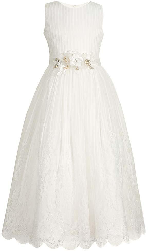 Платье для девочки Vitacci, цвет: белый. 2172041-01. Размер 1002172041-01Нарядное платье королевского белого цвета - идеальный выбор для любого торжества, на котором маленькая принцесса будет блистать.