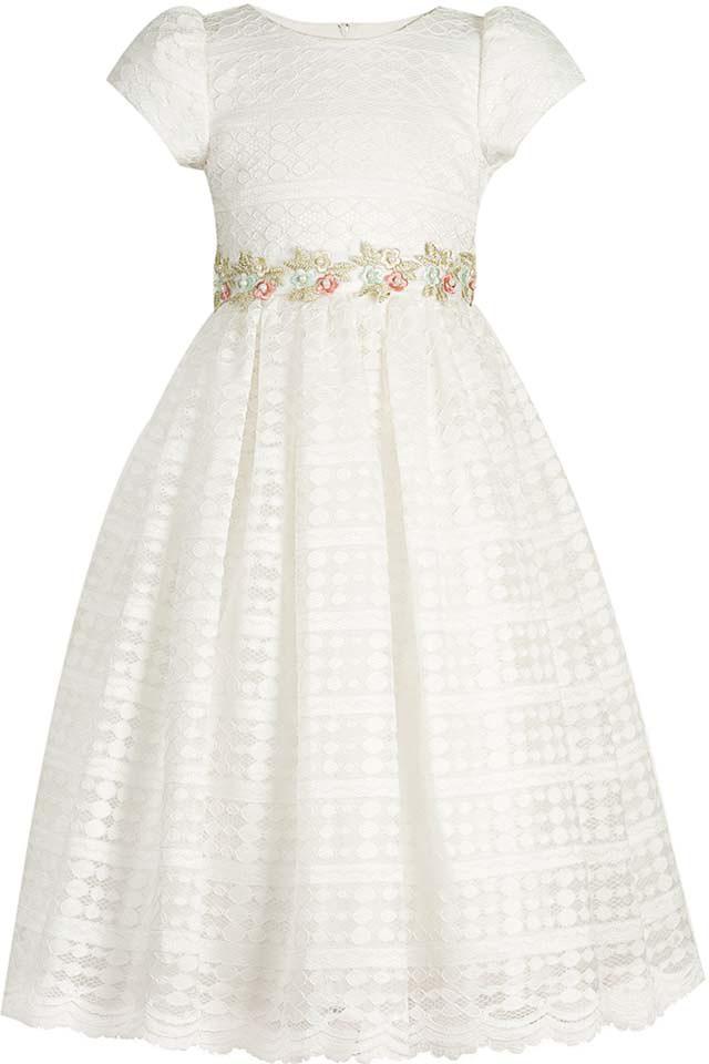 Платье для девочки Vitacci, цвет: белый. 2172042-01. Размер 1202172042-01Нарядное платье королевского белого цвета - идеальный выбор для любого торжества, на котором маленькая принцесса будет блистать.