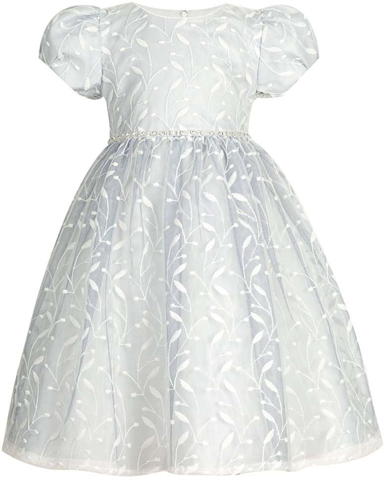 Платье для девочки Vitacci, цвет: серый. 2172043-02. Размер 1002172043-02Замечательное платье для маленькой принцессы идеально подойдет для торжественного выхода в свет или детского праздника.