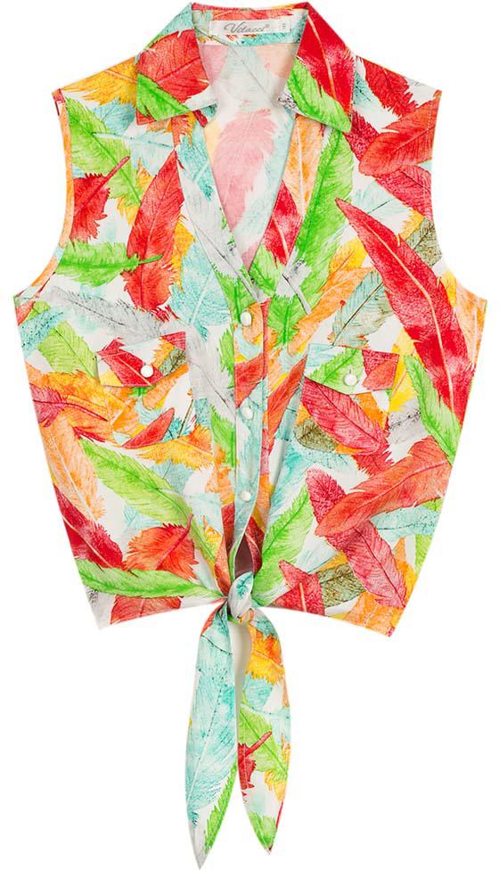 Топ для девочки Vitacci, цвет: оранжевый. 2172082-15. Размер 1402172082-15Яркий топ оригинального покроя из тонкого хлопка с принтом Листья прекрасный выбор в летний день для маленькой модницы.