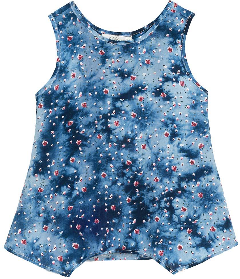 Топ для девочки Vitacci, цвет: синий. 2172099-04. Размер 1282172099-04Забавный летний топ для маленькой модницы незаменим в жаркую погоду, а в комплекте с леггинсами идеально подойдет для прогулки.