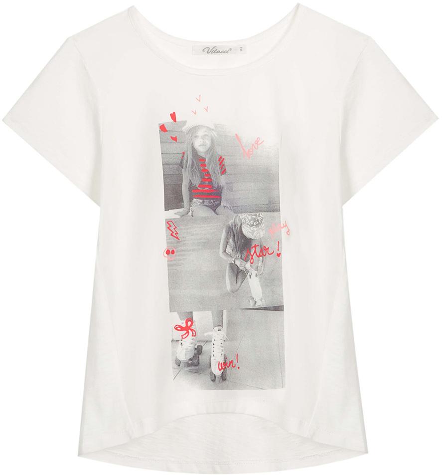 Футболка для девочки Vitacci, цвет: белый. 2172115-01. Размер 1342172115-01Оригинальная футболка для девочки подростка, высококачественный хлопок с оригинальным принтом делает модель модной и позволяет сочетать как с классическими летними брюками или шортами, так и с джинсовыми.