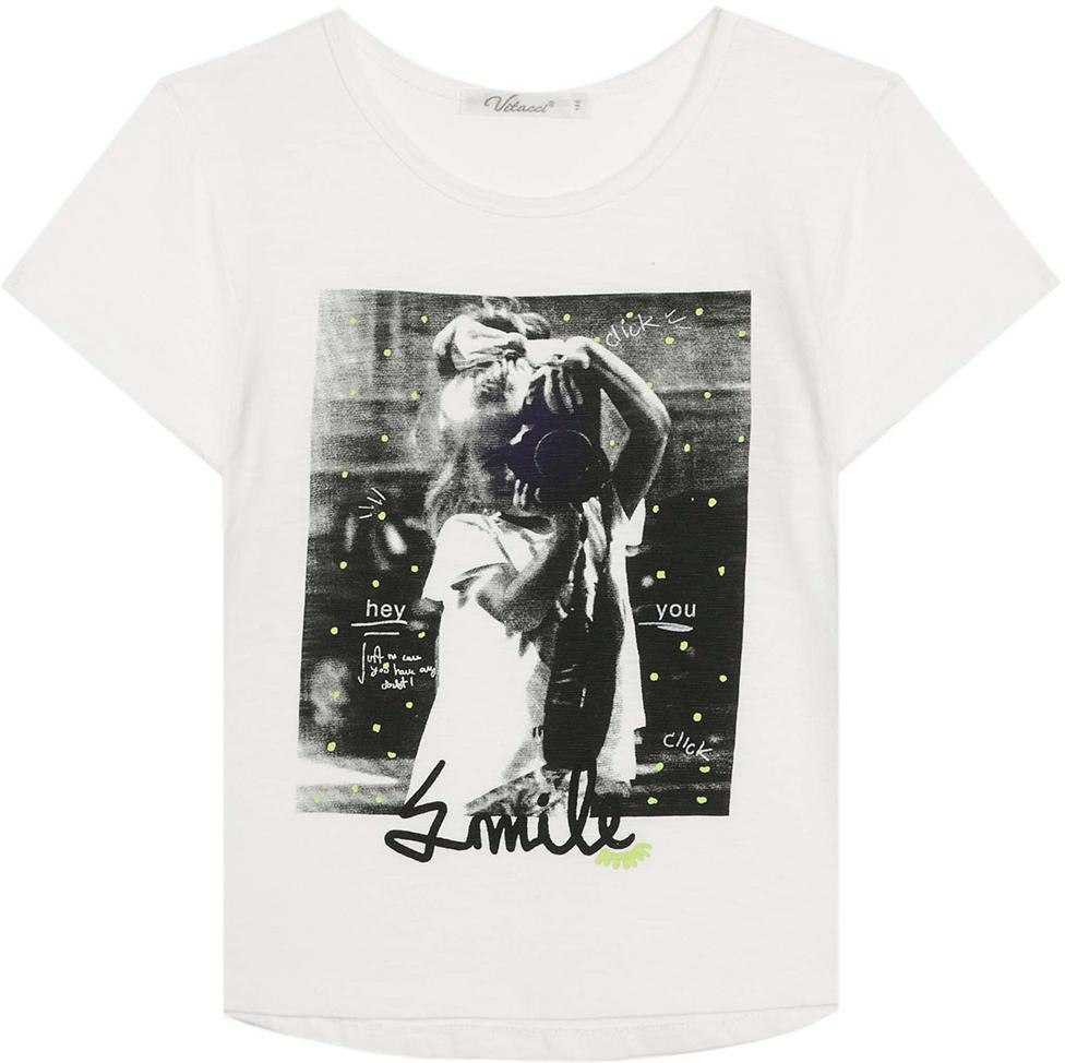 Футболка для девочки Vitacci, цвет: белый. 2172119-01. Размер 1402172119-01Оригинальная футболка для девочки подростка, высококачественный хлопок с оригинальным принтом делает модель модной и позволяет сочетать как с классическими летними брюками или шортами, так и с джинсовыми.