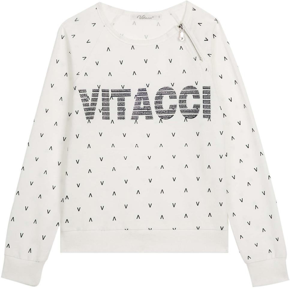 Свитшот для девочки Vitacci, цвет: белый. 2172120-01. Размер 1522172120-01Комфортный свитшот для девочки с длинными рукавами и круглым вырезом горловины.