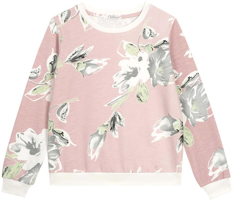 Свитшот для девочки Vitacci, цвет: розовый. 2172132-11. Размер 1522172132-11Свитшот для девочки выполнен из хлопка и полиэстера. Модель с круглым вырезом горловины и длинными рукавами.