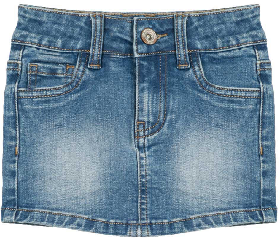Юбка для девочки Vitacci, цвет: синий. 2172154-04. Размер 1102172154-04Стильная мини юбка из качественной джинсы - лучший выбор для вечеринки или прогулки для модной девочки подростка.